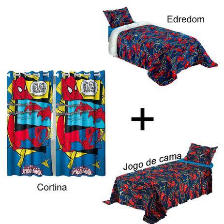 4564479e9c Kit Homem Aranha Jogo de cama + Cortina + Edredom - Lepper - Edredom ...