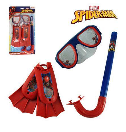 Imagem de Kit infantil máscara de mergulho com snorkel e nadadeiras spider-man