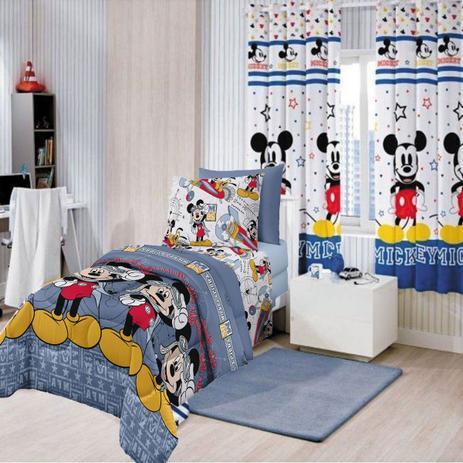 e9e2340c15 Kit Infantil Mickey Aviador Cortina Blackout + Jogo de cama Santista ...