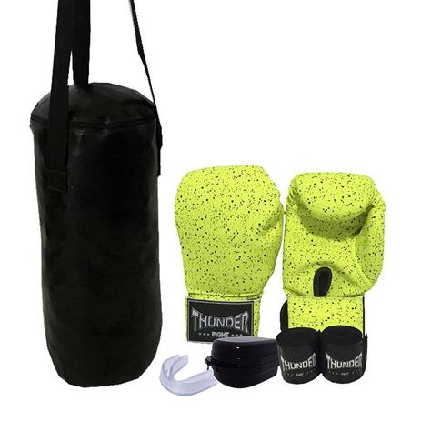 91ffc2f81 Kit Infantil Muay Thai Boxe kickboxing MMA - Luva verde infantil bandagem  protetor bucal + Saco de Pancadas 50 cm - Thunder Fight - ref 1129