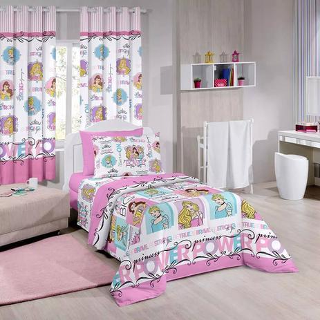d8f31247d7 Kit Infantil Princesas Power Disney Edredom + Cortina Blackout Santista