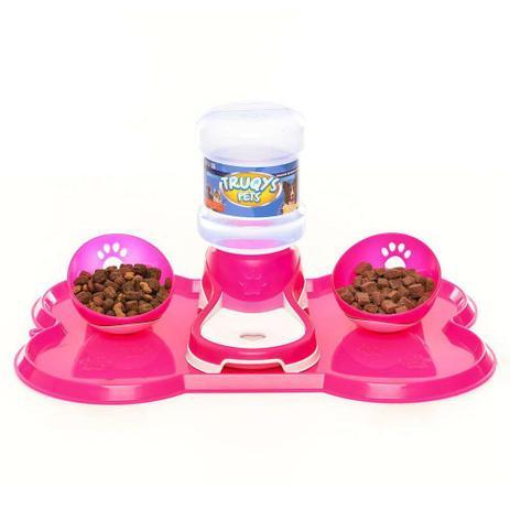 Imagem de Kit Jogo Americano Comedouro + Bebedouro Cães Truqys Pets