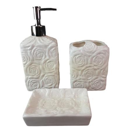 Kit Jogo Banheiro 3 Peças Porcelana Quadrado Branco Detalhes Com Rosas Wincy