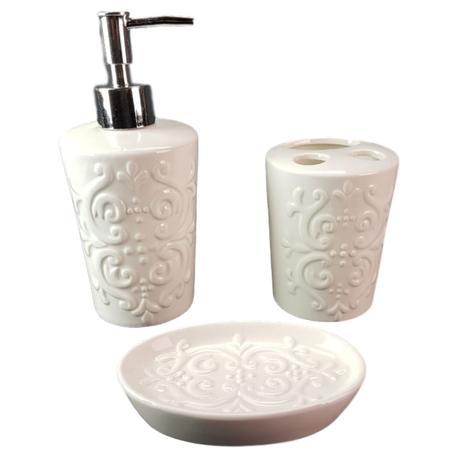 Kit Jogo Banheiro Porcelana 3 Pçs Escova Saboneteira Liquido Wincy
