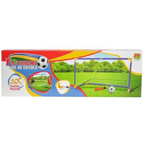 Imagem de Kit jogo de futebol chute a gol com trave grande 118cm completo com bola e bomba