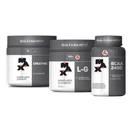 Imagem de Kit L-G Glutamina 300g + Creatina 300g + Bcaa 2400mg 60 Capsulas Max Titanium