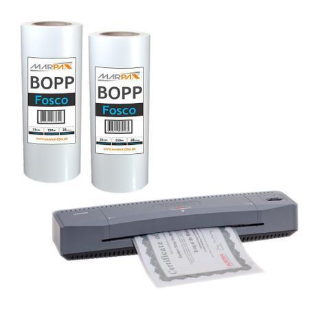 Imagem de Kit Laminadora Aurora A3 + BOPP A4 + BOPP A3 Fosco Marpax 110v