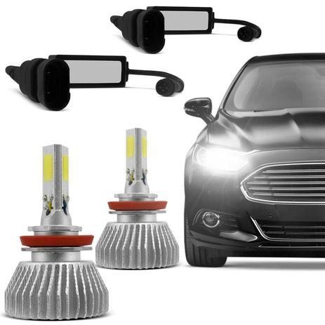 Kit Lâmpada Super LED 3D Headlight H11 6000K 4400LM Efeito Xênon Fonte  Embutida 12V E 24V   Prime