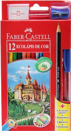 Imagem de Kit lapis de cor 12 cores sextavado + borracha + apontador + caneta + lápis grafite