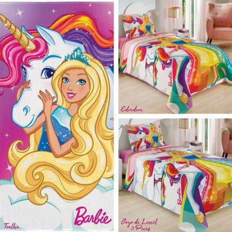 d17bc9856c Kit Lepper Barbie Reinos Mágicos 5 Peças Edredom + Jogo de Lençol + Toalha