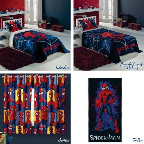 26f0132e34 Kit Lepper Spider Man 7 Peças Edredom + Jogo de cama + Cortina + Toalha
