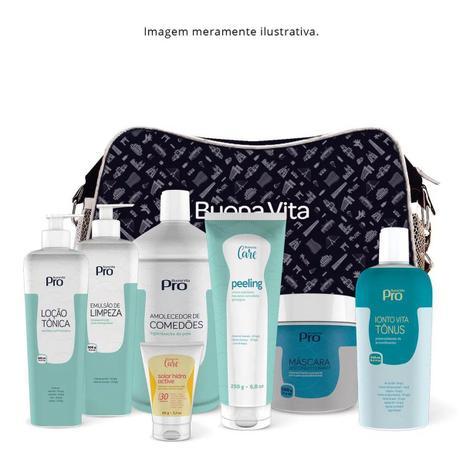 Imagem de Kit Limpeza De Pele E Hidratação Buona Vita Bolsa Azul Claro