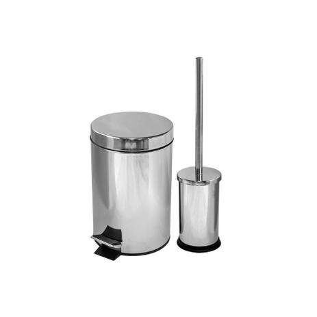 Imagem de Kit Lixeira com Pedal 3 Litros E Escova Sanitária Cromada