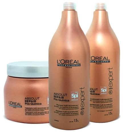 bad233e0c Kit Loréal Absolut Repair Pós Química - Shampoo 1,5L + Condicionador 1,5L +  Máscara 500ml - Loréal professionnel