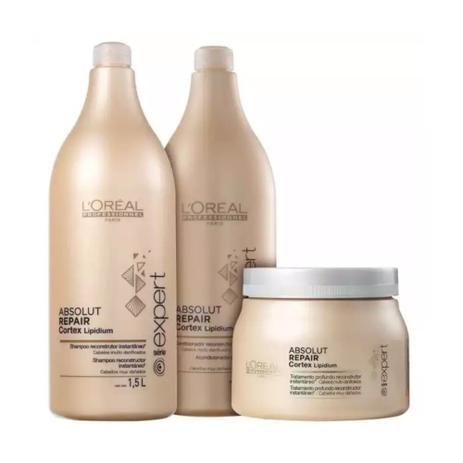 3fc1a05cf Kit Loréal Professionnel Absolut Repair Cortex Lipidium Shampoo + Condicionador  1,5L + Máscara 500g - Loréal professionnel