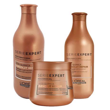 641158745 Kit LOréal Professionnel Expert Absolut Repair Pós Química - Shampoo 300ml  + Condicionador 200ml + Máscara 250ml - Loréal professionnel