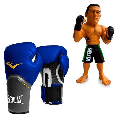 3595d5df38232 Kit Luva Boxe Elite Pro Style Everlast Azul 12oz + Boneco UFC Vitor Belfort  Bermuda Verde - Rythmoon