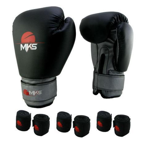 Kit Luva Boxe Muay Thai Prospect Mks Combat Preto e Prata + 3 Bandagens  Preto 2 50074a1fc1a69