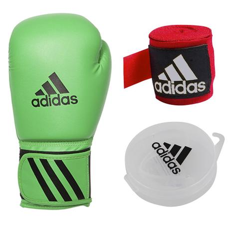d8934c1598 Kit Luva de Boxe  Muay Thai Adidas Speed 50 Verde 16 OZ + bandagem adidas +  protetor bucal adidas