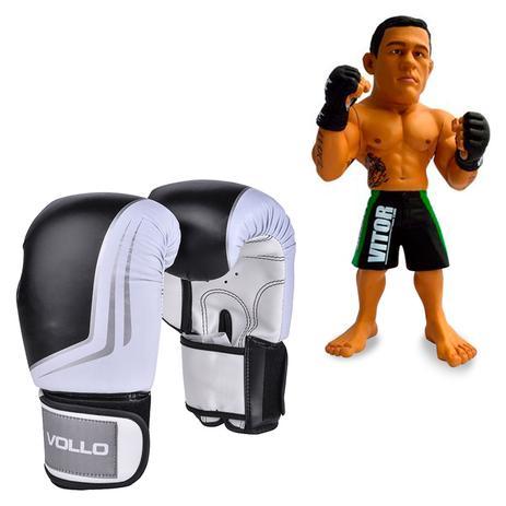f231a386048 Kit Luva De Boxe Muay Thai Vollo VFG201 Preta 14oz + Boneco UFC Vitor  Belfort Bermuda Verde - Rythmoon