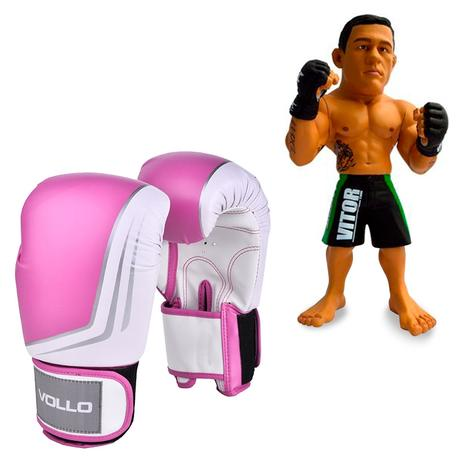 0d50e123f Kit Luva De Boxe Muay Thai Vollo VFG201 Rosa 14oz + Boneco UFC Vitor  Belfort Bermuda Verde - Rythmoon