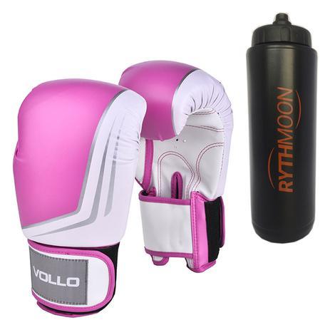 cdc6e58b4 kit Luva De Boxe Muay Thai Vollo VFG201 Rosa 14oz + Squeeze Automático 1lt  - Rythmoon