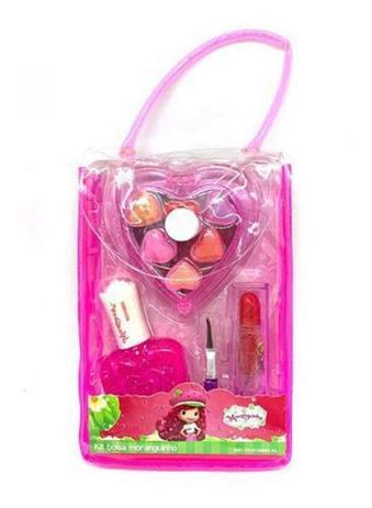 Imagem de Kit Maquiagem Infantil,bolsa Moranguinho,batom/gloss/esmalte