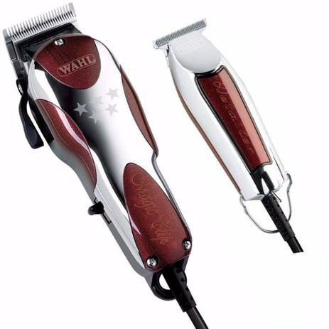 Imagem de Kit máquina de cortar cabelo e acabamento - magic clip 220v e detailer whal