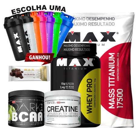 7b5fcec9d Kit Mass + Whey Pro + Creatina + Bcaa + Gold Bar + Coq - Max titanium