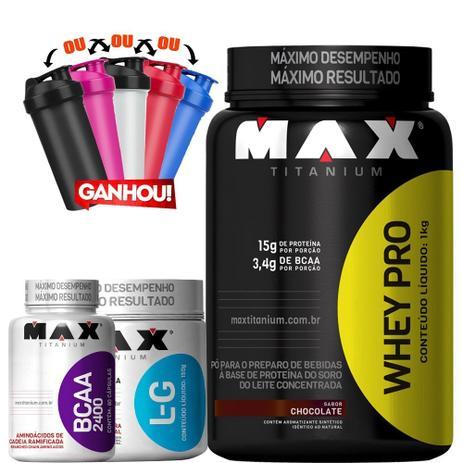 e4d3e4528 Kit Massa Magra Whey Protein + Bcaa + Glutamina + Coq - Max titanium ...
