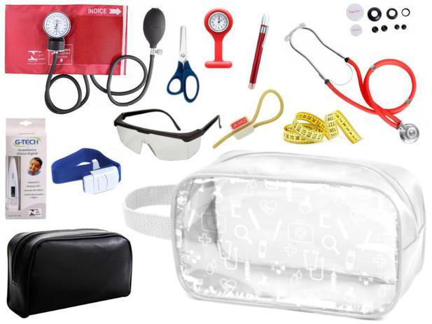 Imagem de Kit Material de Enfermagem Aparelho Pressão com Estetoscópio Duplo Rappaport Premium Completo Cores + Necessaire Transparente