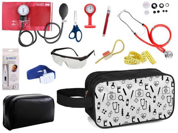 Imagem de Kit Material de Enfermagem Aparelho Pressão com Estetoscópio Duplo Rappaport Premium Completo Cores + Necessaire