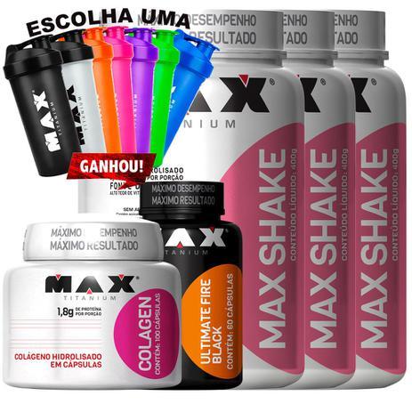 Imagem de Kit Max Shake 400g + Fire Black + Colagen -  Max Titanium