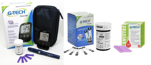Imagem de Kit Medidor De Glicose G-tech Lite + 50 Tiras + 50 Lancetas