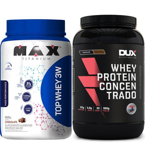 1272d173c Kit Melhores Whey Protein Concentrado Top Whey 3w Max Dux - Dux nutrition