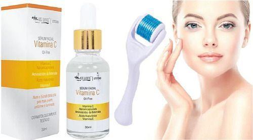 Imagem de Kit Microagulhamento Dermaroller + Vitamina C Para O Rosto