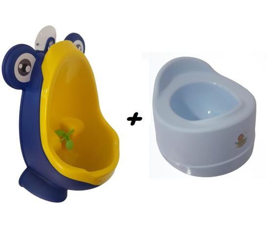 Imagem de Kit Mictorio Infantil Sapinho Azul/Amarelo + Troninho Pinico Planeta Crianca Sanremo
