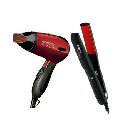 5708ad585 Kit Mini Secador de Cabelo Portátil Para Viagem SC 10 mais Chapinha Prancha  Alisadora Red Ion - Taiff / mondial
