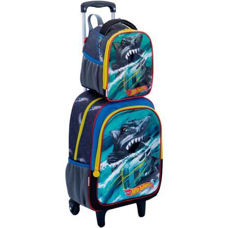f1e65b4499 Kit mochila 3D rodinhas infantil com lancheira e estojo Hot Wheels Tubarão  Sestini