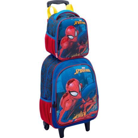 158fc54d0 Kit mochila 3D Spider Man infantil rodinhas com lancheira e estojo Sestini