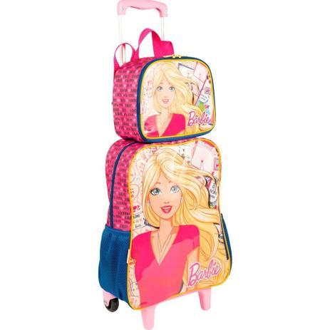 10ee4c3bf8 Kit mochila Barbie infantil rodinhas com lancheira e estojo Sestini ...