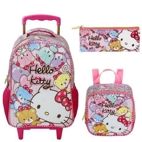 1cd18bd91 Kit Mochila com Rodinhas Hello Kitty Tiny Bears Lancheira e Estojo - Xeryus