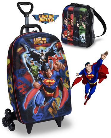 7516e56f60 Kit Mochila Escolar Infantil Carrinho Rodinha Liga Da Justiça Superman Com  Lancheira Maxtoy - Bonecos - Magazine Luiza