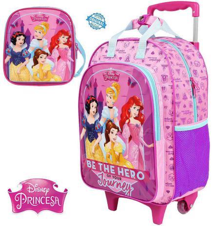 efd3eeee6 Kit Mochila Escolar Infantil Carrinho Rodinha Princesas Rosa Menina  Lancheira Térmica Dermiwil