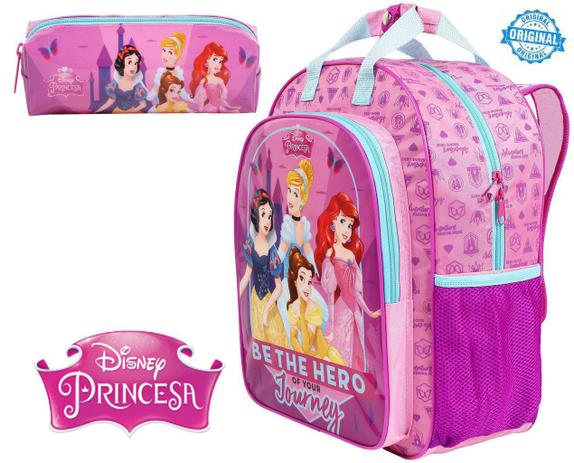 a0203f82a Kit Mochila Escolar Princesas Infantil Menina Resistente Costas Rosa +  Estojo Dermiwil
