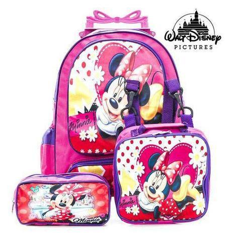 707453e59 Kit Mochila Infantil Escolar Com Rodinhas Minnie Florida - Outras marcas