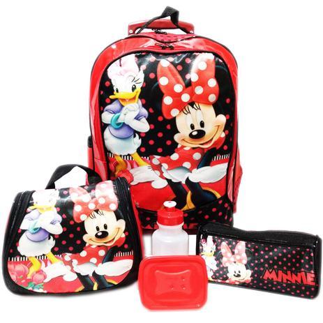 c542db3cd Kit Mochila Infantil Minnie Mouse Vermelho Tam G Rodinhas - School bags