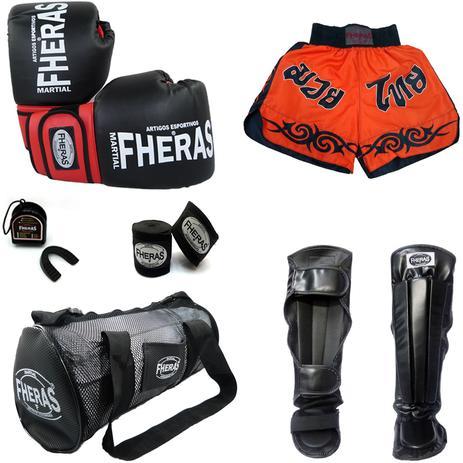 f00854833 Kit Muay Thai - Luva Bandagem Bucal Caneleira Bolsa Shorts - Preto Vermelho  - Fheras