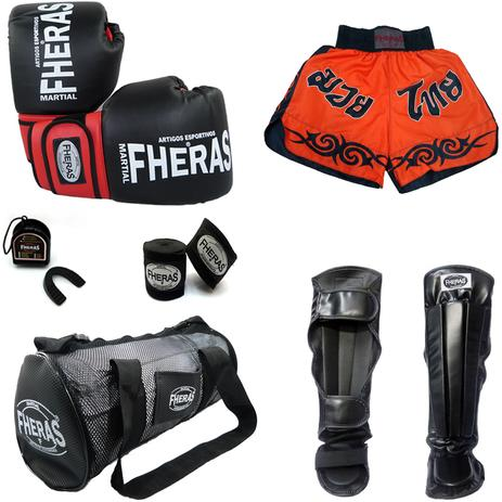 29959dea5 Kit Muay Thai - Luva Bandagem Bucal Caneleira Bolsa Shorts - Preto Vermelho  - Fheras