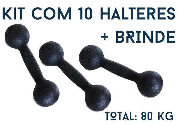 cdb59f57d Kit Musculação Intermediário Halter De Ferro 80 Kg Fundiban - Fundiban ltda